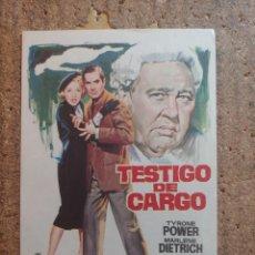 Cine: FOLLETO DE MANO DE LA PELÍCULA TESTIGO DE CARGO. Lote 253943590