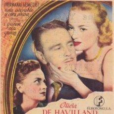 Cine: A TRAVES DEL ESPEJO .- OLIVIA DE HAVILLAND. Lote 253956080