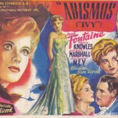 Cine: ABISMOS (IVY) .- JOAN FONTAINE. Lote 253956250