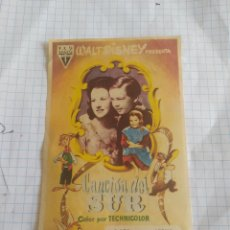 Cine: FOLLETO DE MANO CANCION DEL SUR , WALT DISNEY. Lote 254193845