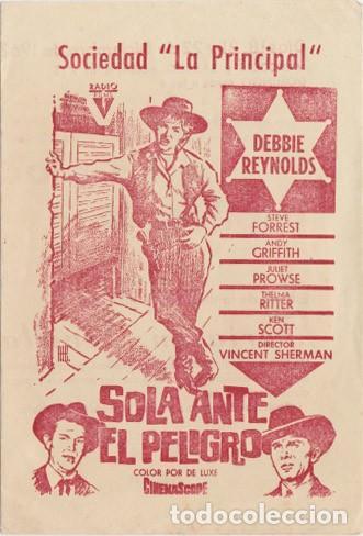 SOLA ANTE EL PELIGRO (CON PUBLICIDAD) (Cine - Folletos de Mano - Westerns)