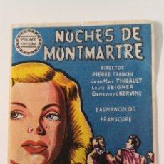 Cine: PROGRAMA DE CINE SENCILLO NOCHES DE MONTMARTRE - PIERRE FRANCHI JEAN MARC THIBAULT LOUIS SEIGNER. Lote 254316785