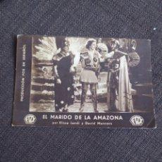 Cine: FOLLETO DE MANO DE CARTÓN EL MARIDO DE LA AMAZONA. Lote 254329715