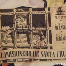 Cine: EL PRISIONERO DE SANTA CRUZ - DOBLE CON PUBLICIDAD BALEAR PALMA DE MALLORCA - BUEN ESTADO. Lote 254547520