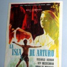 Cine: PROGRAMA FOLLETO MANO CINE - LA ISLA DE ARTURO - DAMIANI - COLISEO EQUITATIVA ZARAGOZA. ANTIGUO 1962. Lote 254554715