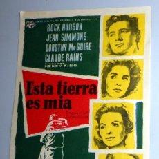 Cine: PROGRAMA FOLLETO MANO CINE - ESTA TIERRA ES MIA ROCK HUDSON - COLISEO EQUITATIVA ZARAGOZA. AÑO 1960. Lote 254555485