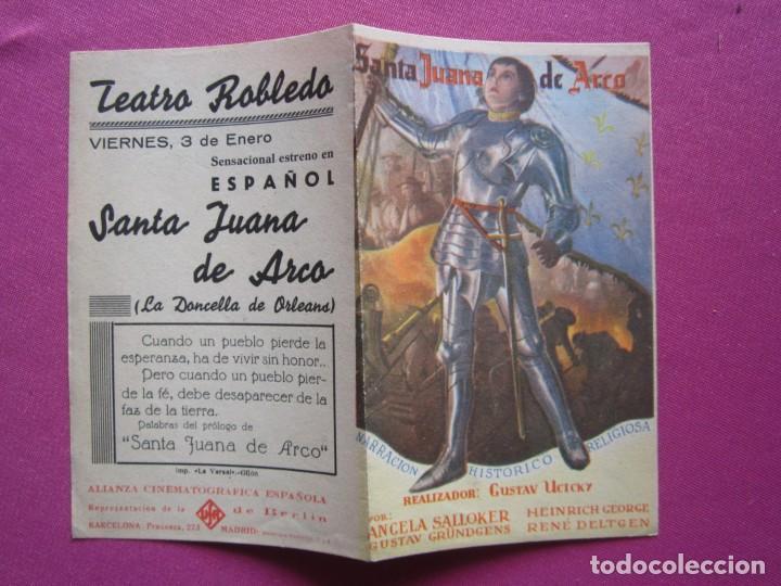 SANTA JUANA DE ARCO PROGRAMA DE CINE DOBLE AÑOS 30 , (Cine - Folletos de Mano - Aventura)