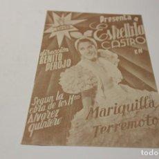Cine: PROGRAMA DE MANO MARIQUILLA TERREMOTO. Lote 254611315