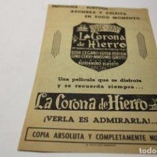 Cine: PROGRAMA DE MANO LOCAL LA CORONA DE HIERRO. Lote 254612880