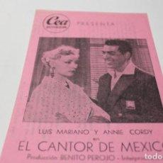 Cine: PROGRAMA DE MANO LOCAL CANCIONERO EL CANTOR DE MEXICO. Lote 254613805