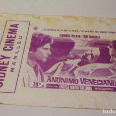 Cine: PROGRAMA DE MANO LOCAL ANONIMO VENECIANO. Lote 254615410