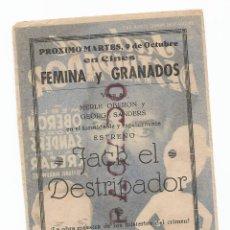 Cine: RARISIMO REVERSO!!! JACK EL DESTRIPADOR PROGRAMA DE MANO. Lote 254638755