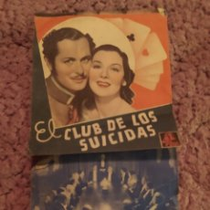 Cine: FOLLETO DE MANO DOBLE EL CLUB DE LOS SUICIDAS AÑO 1938 CINE ATENEU IGUALADI. Lote 254987485