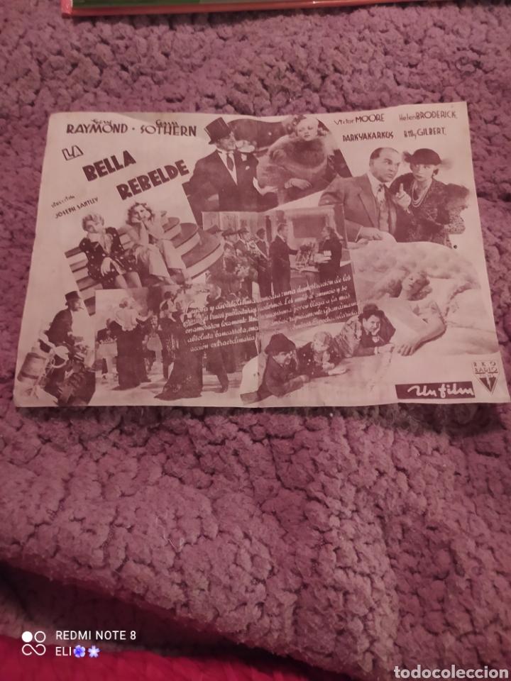 Cine: Folleto de mano doble LA BELLA REBELDE , Gene Raymond , Ann Sothern , cine mundial - Foto 3 - 254990895