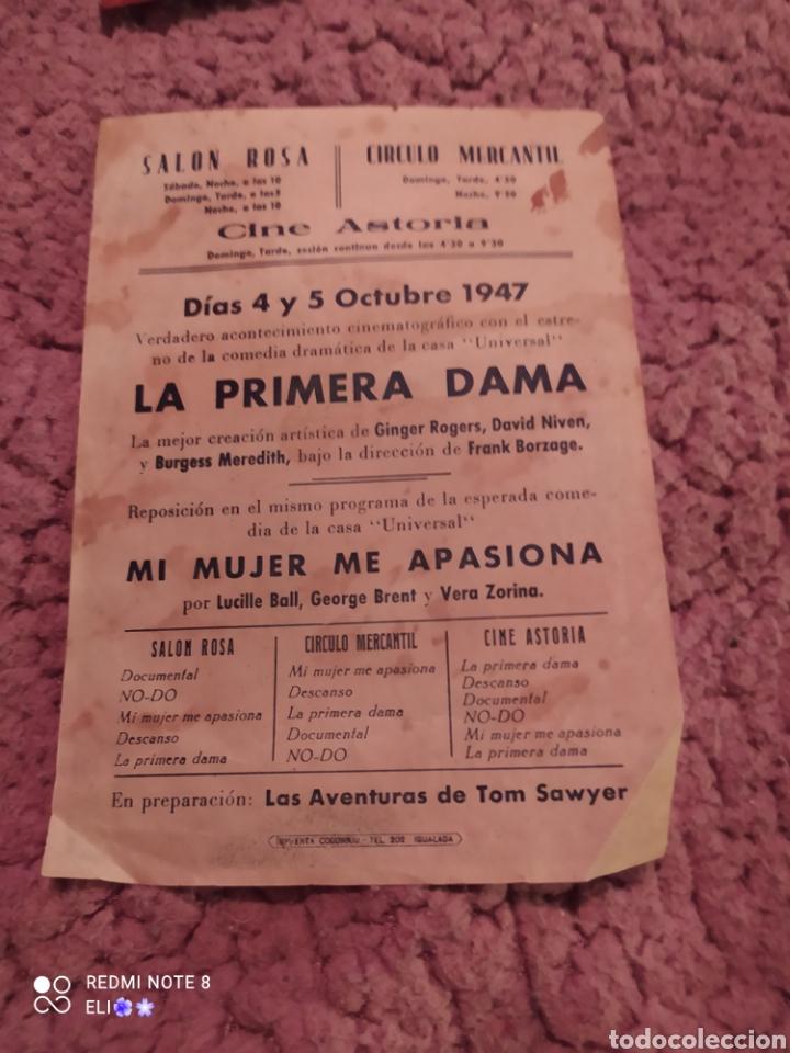 Cine: Folleto de mano LA PRIMERA DAMA año 1947 cine mundial - Foto 2 - 254992805
