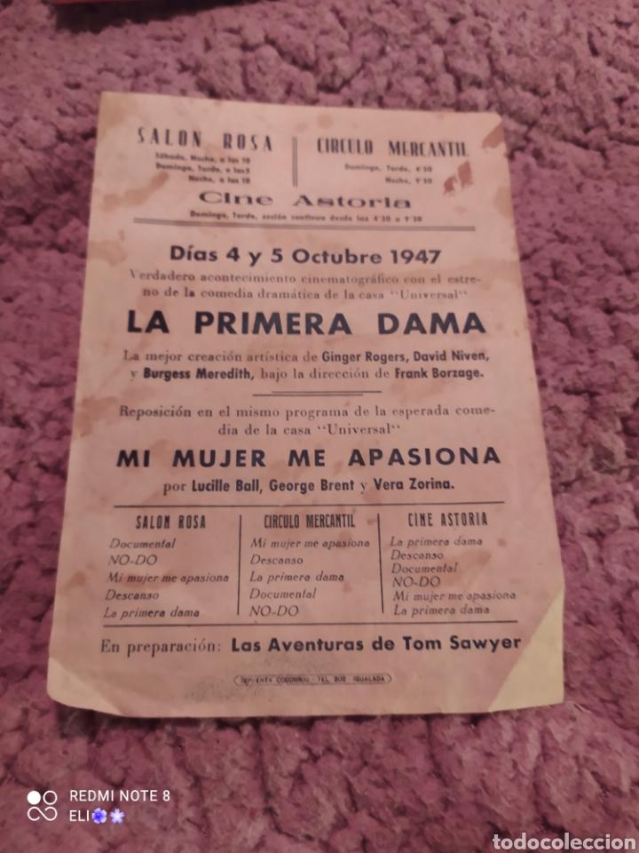 Cine: Folleto de mano LA PRIMERA DAMA año 1947 cine mundial - Foto 2 - 254992880
