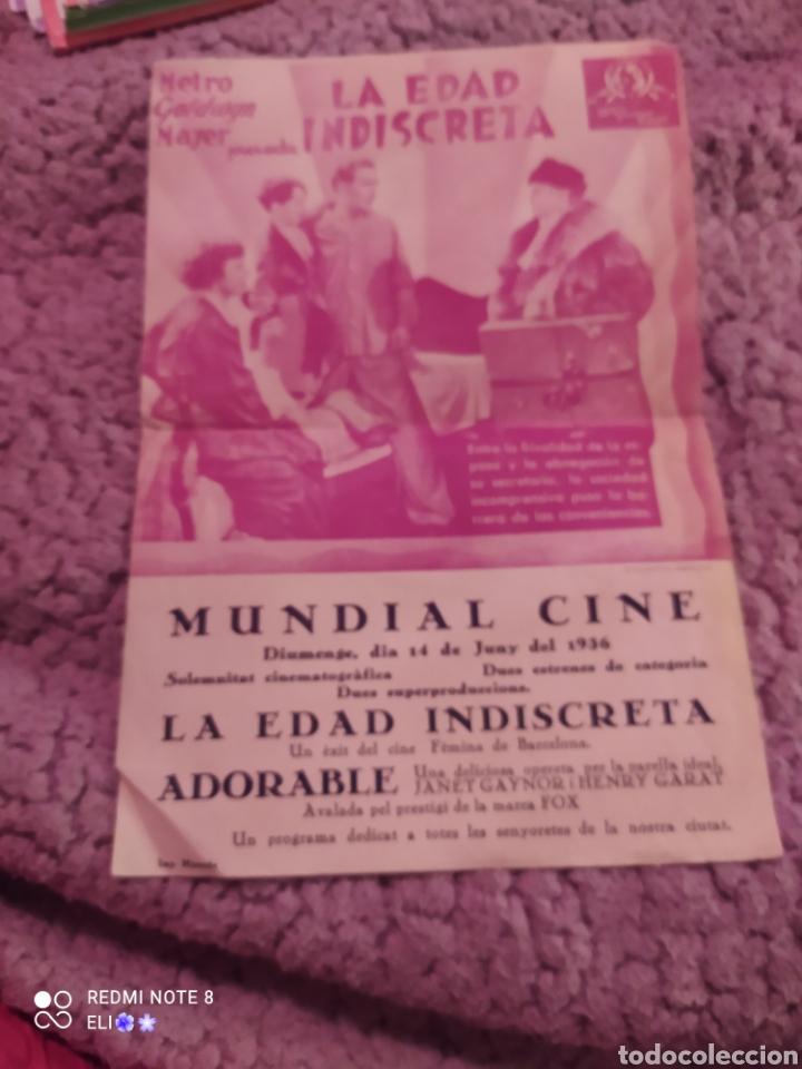 Cine: Folleto de mano doble LA EDAD INDISCRETA año 1936 mundial cine - Foto 3 - 254994040