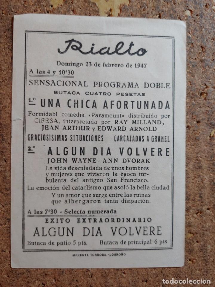 Cine: FOLLETO DE MANO DE LA PELICULA ALGUN DIA VOLVERE CON PUBLICIDAD - Foto 2 - 255915560
