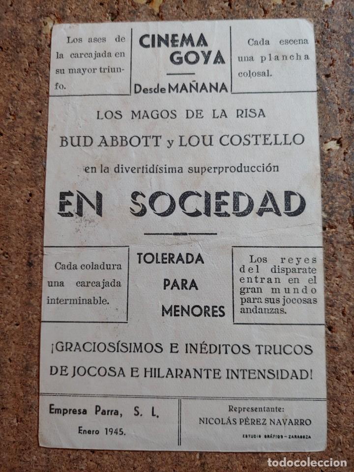 Cine: FOLLETO DE MANO DE LA PELICULA EN SOCIEDAD CON PUBLICIDAD - Foto 2 - 255917580