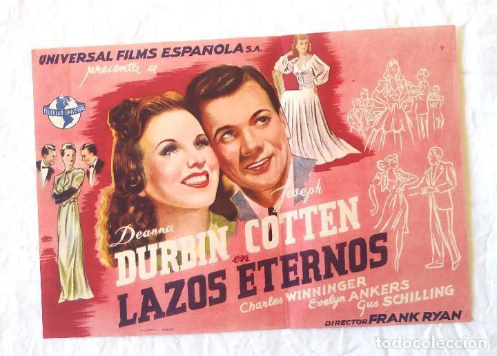 LAZOS ETERNOS PROGRAMA CINE GRANDE DE UNIVERSAL AÑOS 40 CINE CANIGÓ VICH (Cine - Folletos de Mano - Comedia)