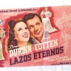 Cine: LAZOS ETERNOS PROGRAMA CINE GRANDE DE UNIVERSAL AÑOS 40 CINE CANIGÓ VICH. Lote 257282970