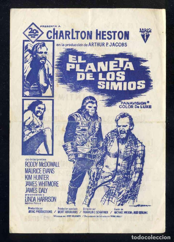 PROGRAMA DE CINE LOCAL: EL PLANETA DE LOS SIMIOS (CHARLTON HESTON) (Cine - Folletos de Mano - Ciencia Ficción)