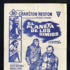 Folhetos de mão de filmes antigos de cinema: PROGRAMA DE CINE LOCAL: EL PLANETA DE LOS SIMIOS (CHARLTON HESTON). Lote 257299950