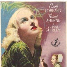 Flyers Publicitaires de films Anciens: PROGRAMA DE CINE - NOCHE DE ANGUSTIA - CAROLE LOMBARD, ANNE SHIRLEY - CINE AVENIDA (BARCELONA) 1940. Lote 257506205