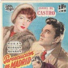 Folhetos de mão de filmes antigos de cinema: PN - PROGRAMA DE CINE - PERSECUCIÓN EN MADRID - MANOLO MORÁN - PLAZA DE TOROS (MÁLAGA) - 1954.. Lote 257506830