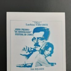 Foglietti di film di film antichi di cinema: MUERTE EN VENECIA LUCHINO VISCONTI IMPRESO EN LOS AÑOS 80. Lote 257542045