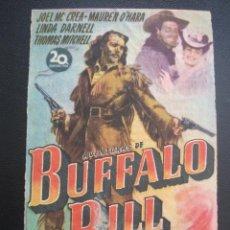 Cine: AVENTURAS DE BUFFALO BILL, JOEL MCCREA, TEATRO PRINCIPAL Y CINEMA BOLET, 1948. Lote 257585570