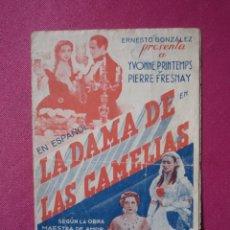 Cine: LA DAMA DE LAS CAMELIAS, YVONNE PRIMTEMPS FRESNAY PROGRAMA CINE DOBLE C2. Lote 257625435
