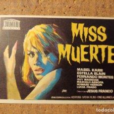 Cine: FOLLETO DE MANO DE LA PELÍCULA MISS MUERTE. Lote 257675620