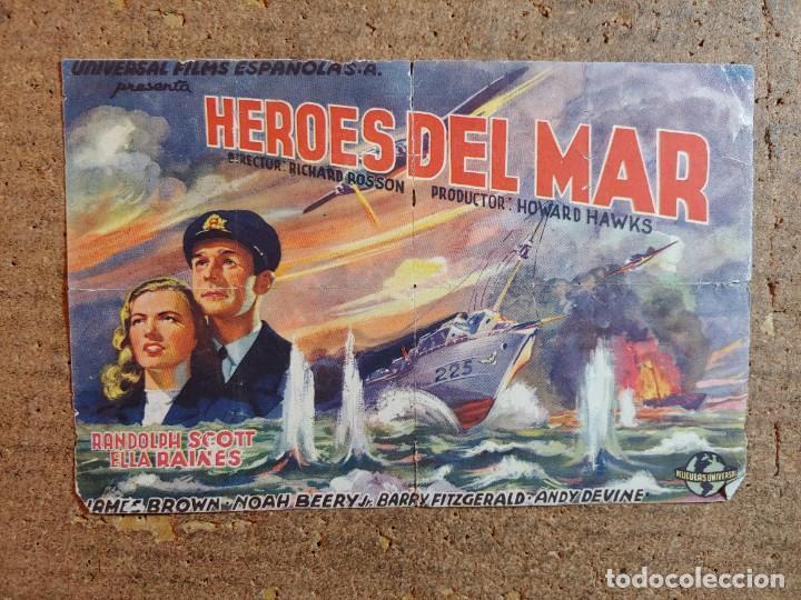 FOLLETO DE MANO DOBLE DE LA PELICULA HÉROES DEL MAR (Cine - Folletos de Mano - Bélicas)