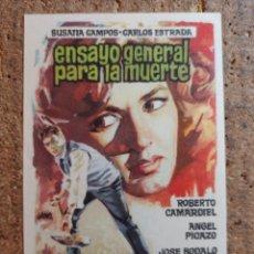Cine: FOLLETO DE MANO DE LA PELÍCULA ENSAYO GENERAL PARA LA MUERTE. Lote 258264645