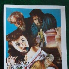 Folhetos de mão de filmes antigos de cinema: LA ZINGARA Y LOS MONSTRUOS BORIS KARLOFF LON CHANEY IMPRESO EN LOS AÑOS 80. Lote 258633690