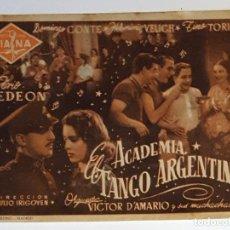 Cine: PROGRAMA DE MANO DE LA PELÍCULA ACADEMIA - EL TANGO ARGENTINO.. Lote 258878430