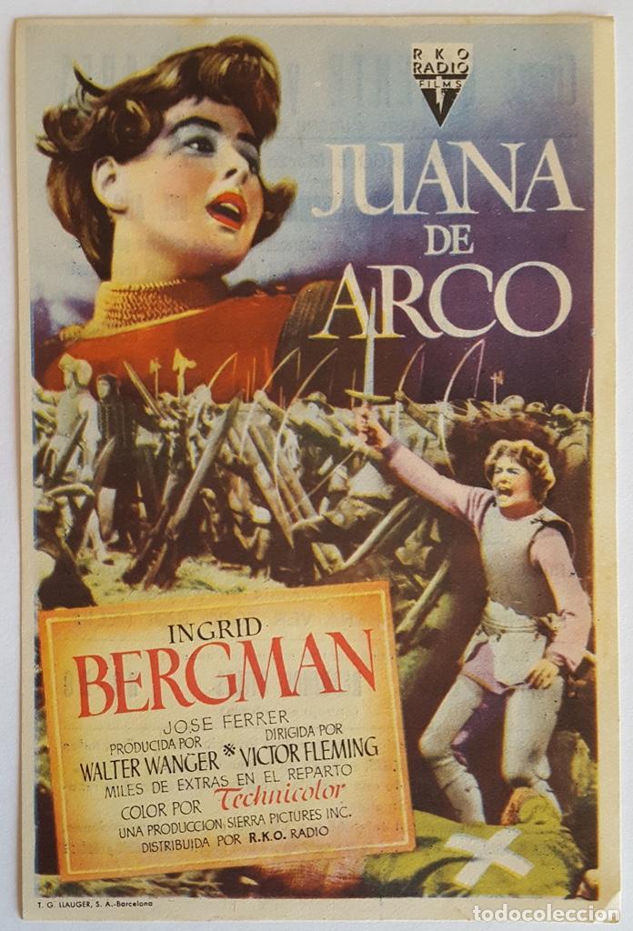 PROGRAMA DE MANO DE LA PELÍCULA JUANA DE ARCO. (Cine - Folletos de Mano - Bélicas)