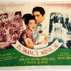 Cine: PROGRAMA DE MANO DE LA PELÍCULA ROMANCE MUSICAL.. Lote 258935800