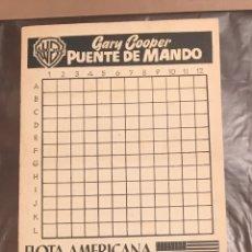 Cine: PUENTE DE MANDO PROGRAMA DOBLE WARNER ESPECIAL JUEGO DE LOS BARQUITOS GARY COOPER. Lote 27276724