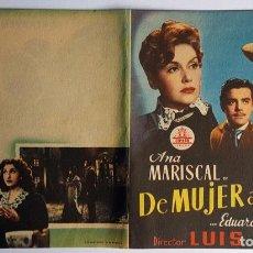 Cine: PROGRAMA DE MANO DÍPTICO DE LA PELÍCULA DE MUJER A MUJER.. Lote 259233725