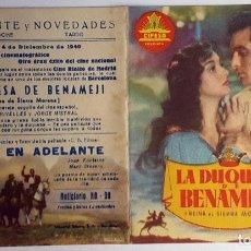 Cine: PROGRAMA DE MANO DÍPTICO DE LA PELÍCULA LA DUQUESA DE BENAMEJI.. Lote 259236280