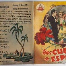 Cine: PROGRAMA DE MANO DÍPTICO DE LA PELÍCULA UNA CUBANA EN ESPAÑA.. Lote 259239225