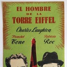 Cine: PACK PROGRAMAS DE MANO SENCILLO Y TROQUEL DE LA PELÍCULA EL HOMBRE DE LA TORRE EIFFEL.. Lote 259240065