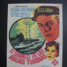 Folhetos de mão de filmes antigos de cinema: EL DIABLO DE LAS AGUAS TURBIAS, RICHARD WIDMARK, CINE AVENIDA. Lote 259729970