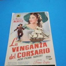 Folhetos de mão de filmes antigos de cinema: PROGRAMA DE MANO ORIG - LA VENGANZA DEL CORSARIO - CON CINE DE RUTE IMPRESO AL DORSO. Lote 259872700