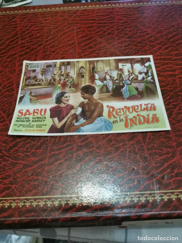 PROGRAMA DE MANO ORIG - REVUELTA EN LA INDIA - CON CINE DE RUTE IMPRESO AL DORSO (Cine - Folletos de Mano - Aventura)