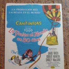 Cine: FOLLETO DE MANO DE LA PELICULA LA VUENTA AL MUNDO EN 80 DIAS CON PUBLICIDAD. Lote 260001675
