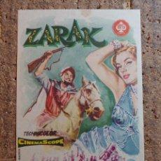 Cine: FOLLETO DE MANO DE LA PELICULA ZARAK CON PUBLICIDAD. Lote 260002210