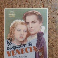 Cine: FOLLETO DE MANO DE LA PELICULA EL VENGADOR DE VENECIA CON PUBLICIDAD. Lote 260044575